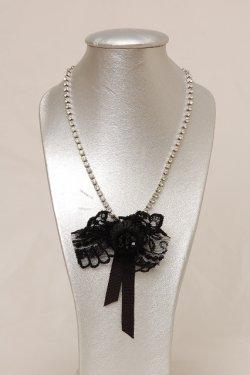 画像1: xi designs  ブラックリボンネックレッス